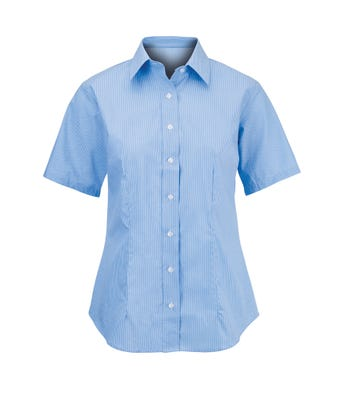 Women's short sleeved stretch shirt blue/white