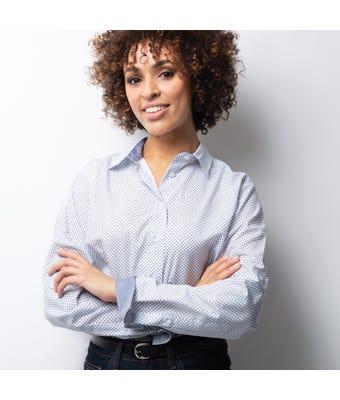 Womens geometric print roll up sleeve shirt